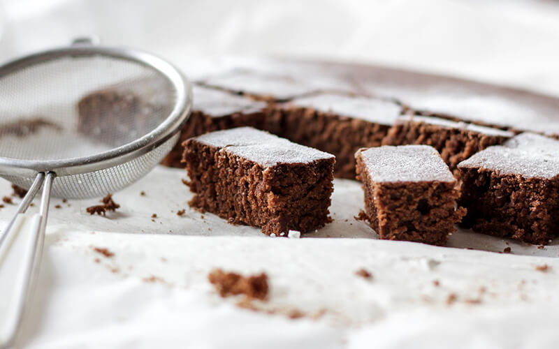 Keto brownie on a white table
