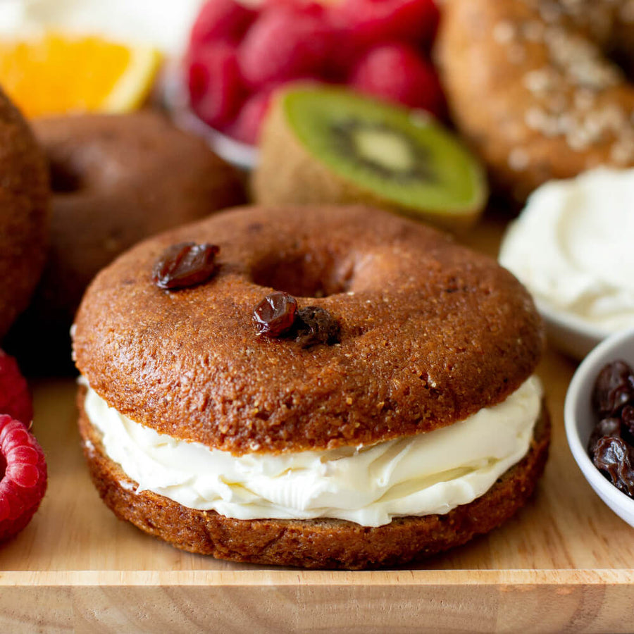PBH Foods Keto Cinnamon Raisin Bagel with cream cheese