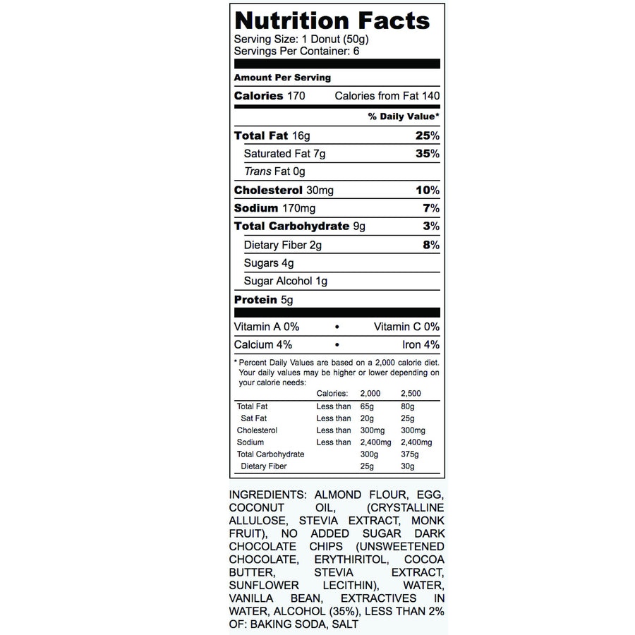 Keto Chocolate Chip Donut Nutritional Facts Label