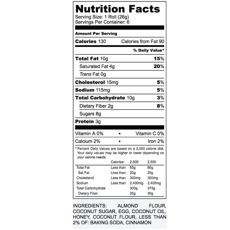 Nutrition Label for Paleo Cinnamon Rolls