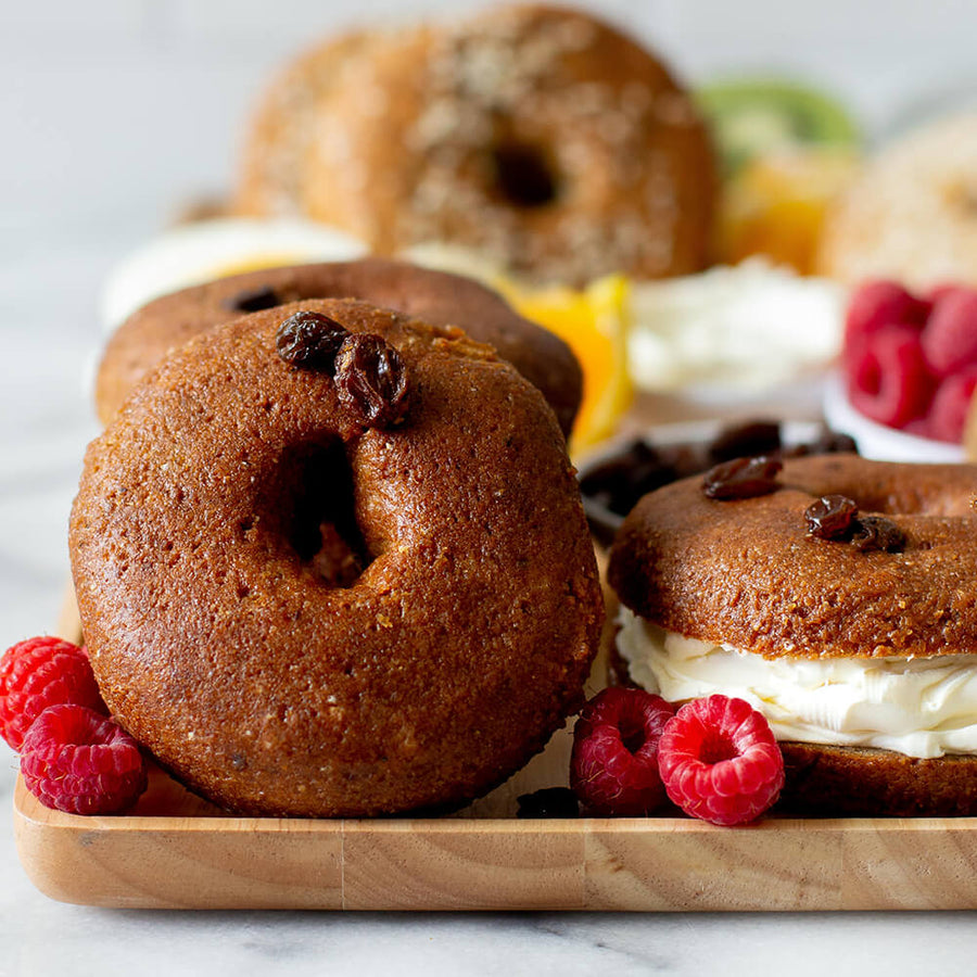 PBH Foods Keto Cinnamon Raisin Bagels with raspberries and cream cheese