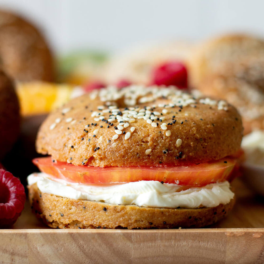 PBH Foods Keto Everything Bagel with tomato and cream cheese