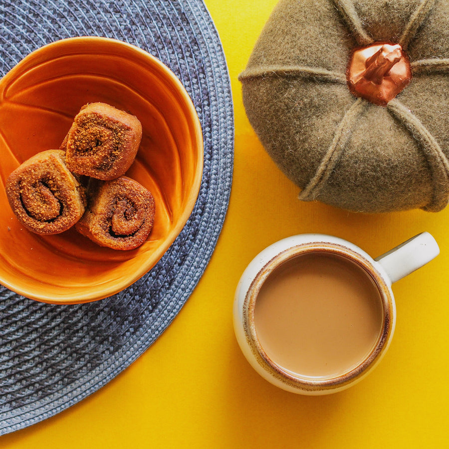 Paleo pumpkin rolls with coffee and velvet pumpkin