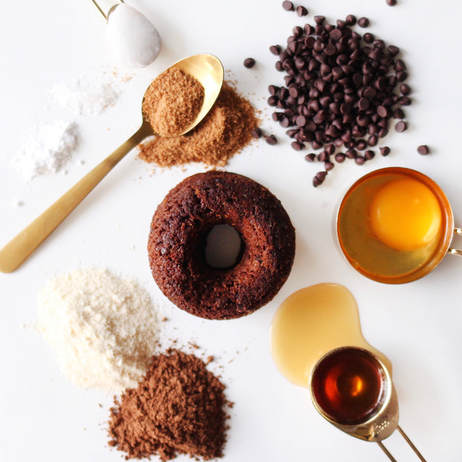 Image of a Keto Double Chocolate Donut Next to Ingredients