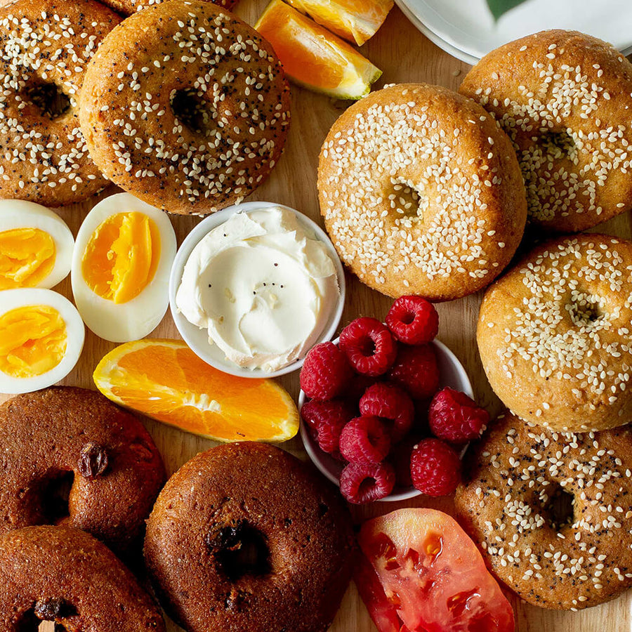 PBH Foods Keto Bagel platter with Sesame, Everything, and Cinnamon Raisin Bagels