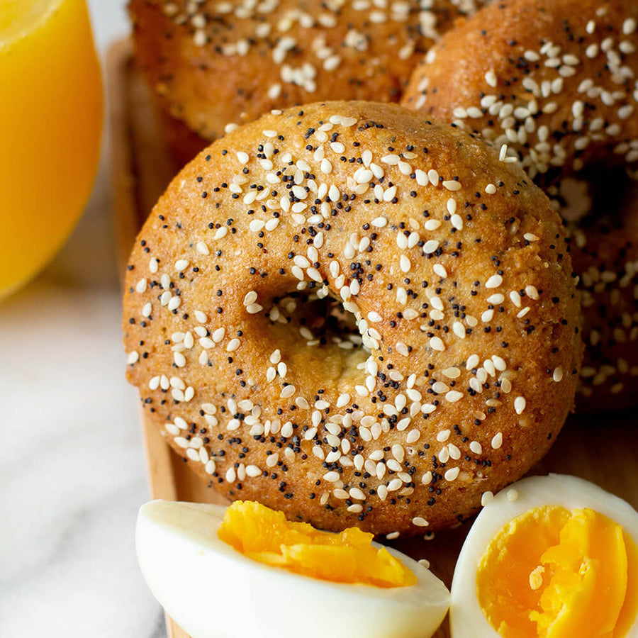PBH Foods Keto Everything Bagel with juice and hard boiled eggs