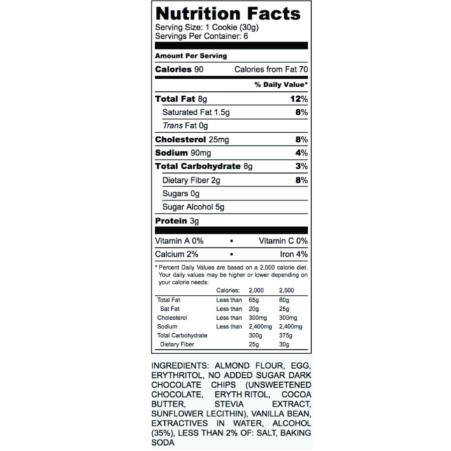 Keto Chocolate Chip Cookie Nutritional Facts Label