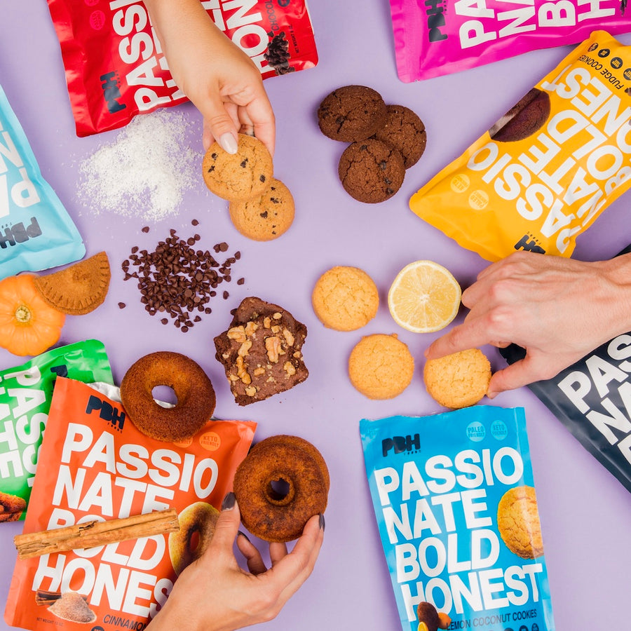 Donuts, Cookies and other PBH Foods snacks being grabbed by hands