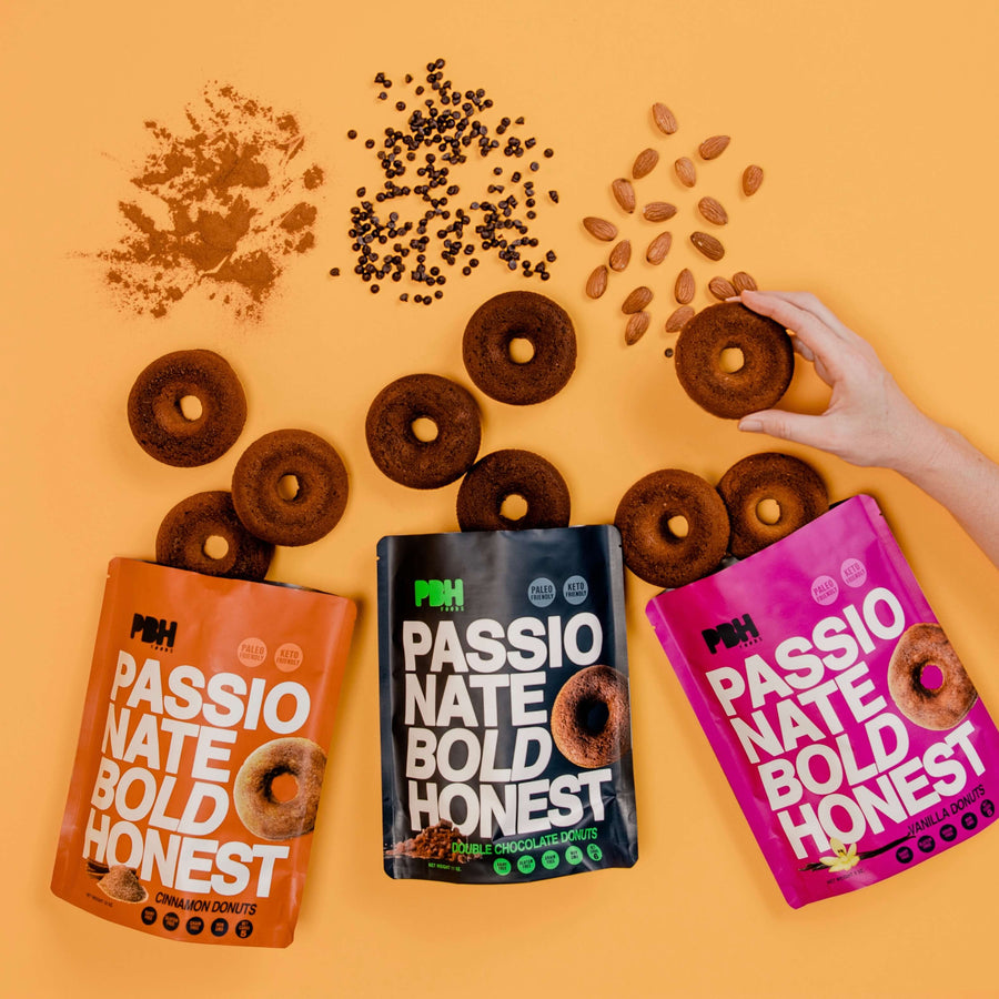 Photo of donuts inside PBH Bags with ingredients on top