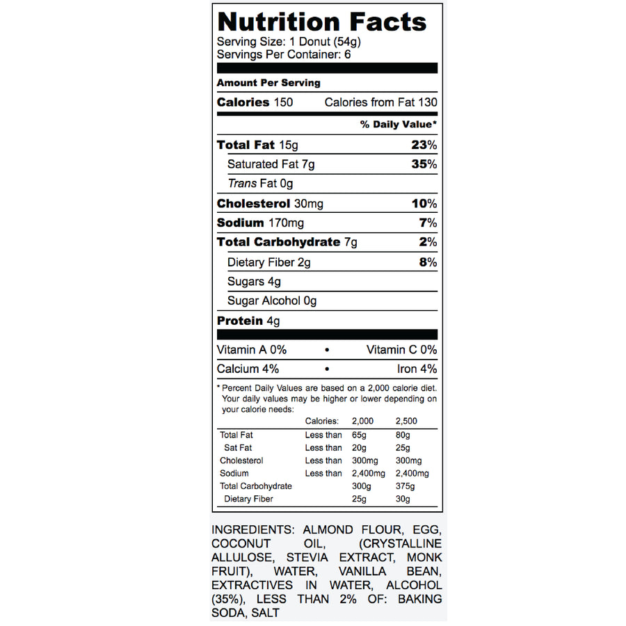 Nutrition Label for Keto Vanilla Donut
