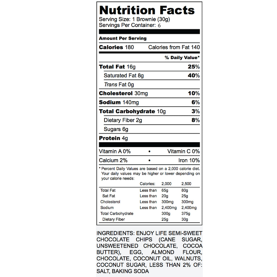 Nutrition Label for Paleo Walnut Brownies