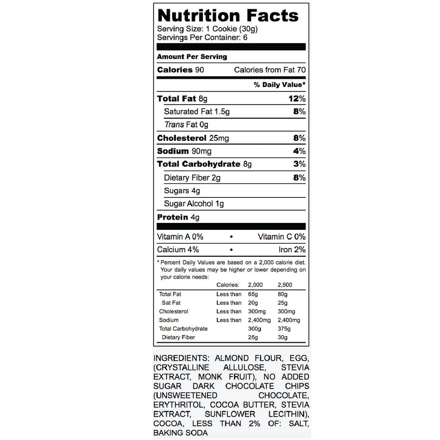 Nutrition Label for fudge cookie