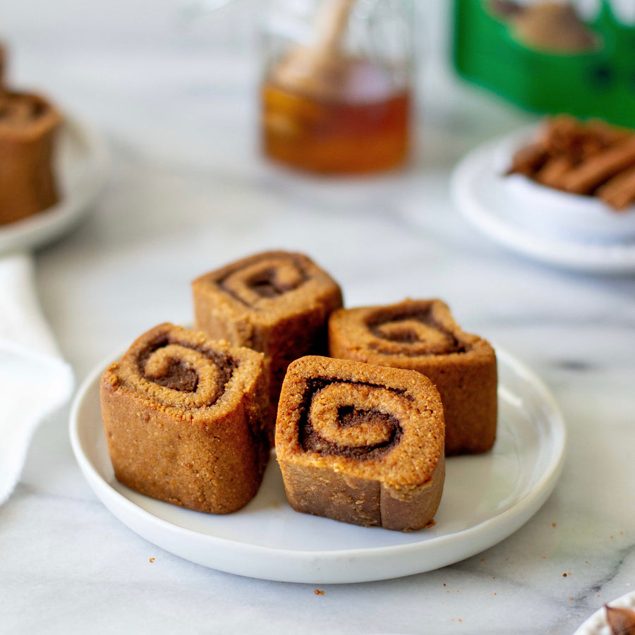 Paleo pumpkin cinnamon rolls on a plate