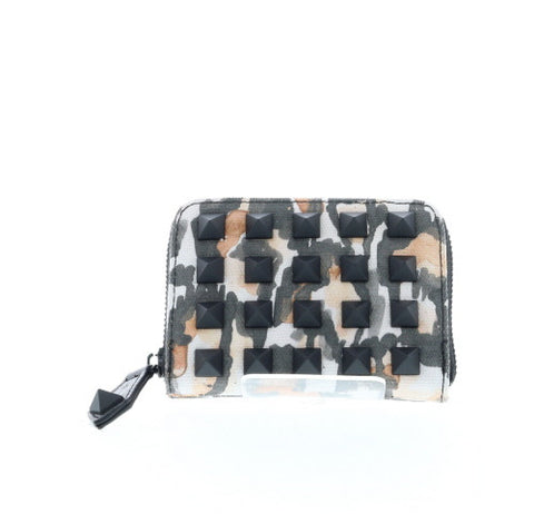 Leopard Studded Canvas Small Zip Wallet