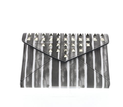 Striped Studded Canvas Envelope Clutch
