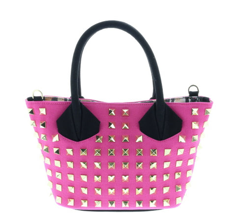 Pink Studded Canvas Mini Crossbody Tote
