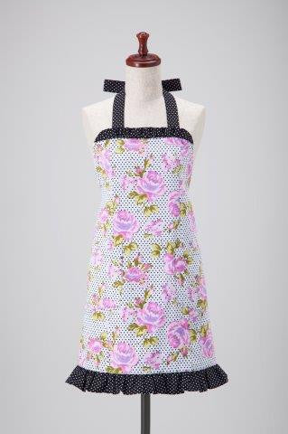 Purple Floral Polka Dots Allie Apron