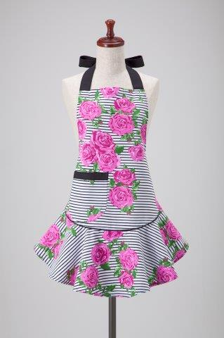 Purple Roses Stripes Mary Jean Apron