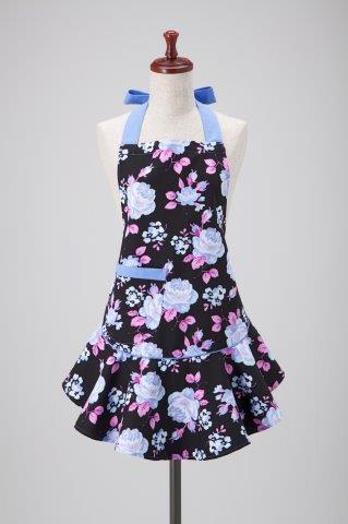 Blue Black Floral Mary Jean Apron