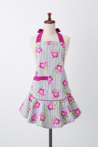 Purple Floral Stripes Mary Jean Apron