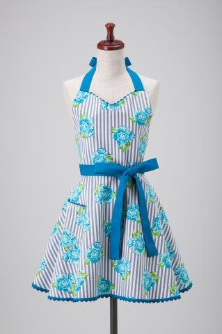 Blue Floral Stripes Kathleen Apron
