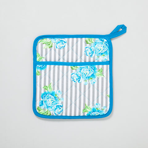 Blue Floral Stripes Pot Holder