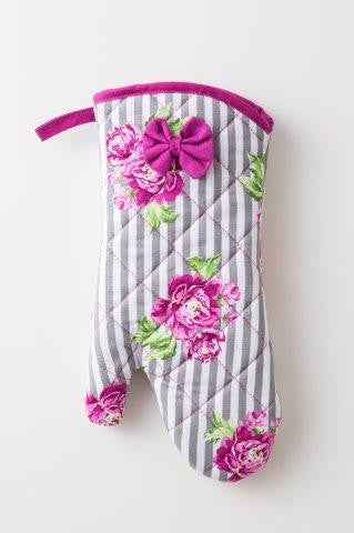 Purple Floral Stripes Oven Mitt