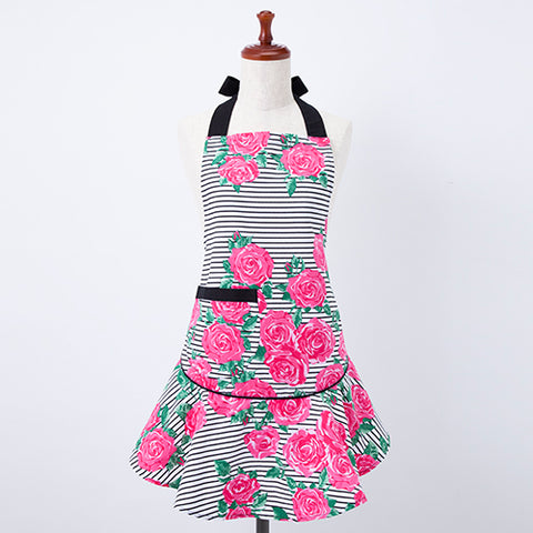 Pink Roses Stripes Mary Jean Apron