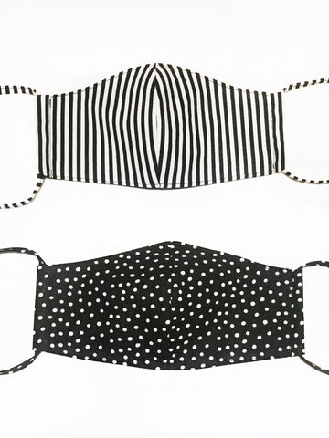 Dots and Stripes Print Face Mask with Filter Pocket