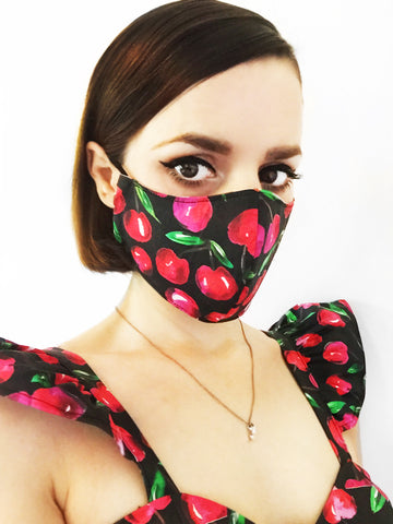 Black and Pink Cherry Print Face Mask with Filter Pocket