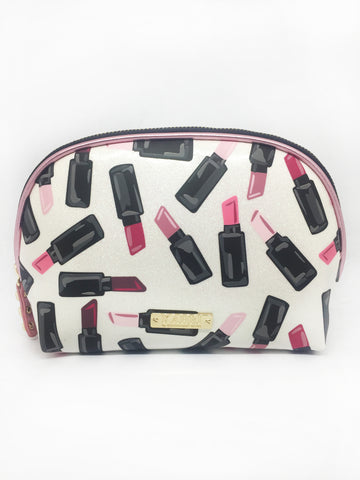 Lipstick White Glitter Vinyl Small Dome Cosmetic Bag