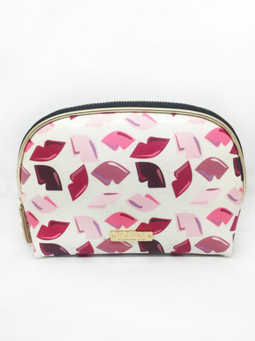 Lips White Glitter Vinyl Small Dome Cosmetic Bag