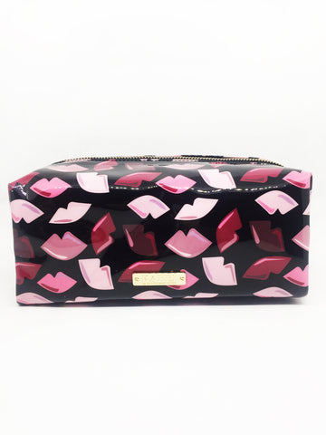 Large Lips Black Vinyl Rectangle Pouch