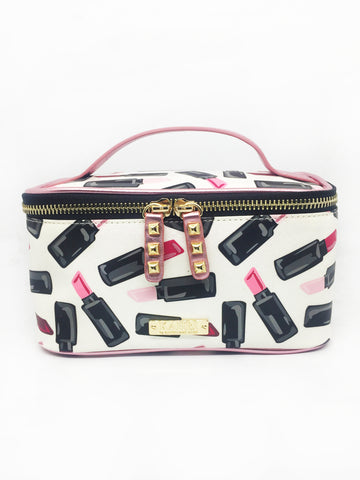 Lipstick White Glitter Vinyl Small Train Case