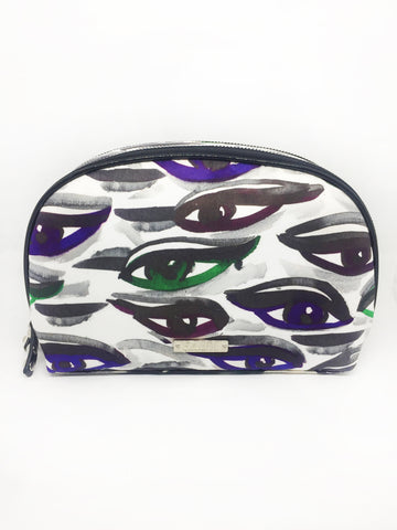 Eyes Nylon Large Double Zip Pouch