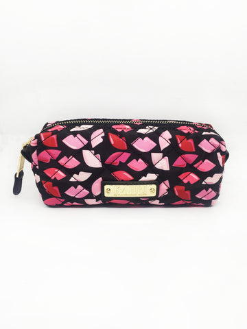 Quilted Lips Nylon Small Pouch