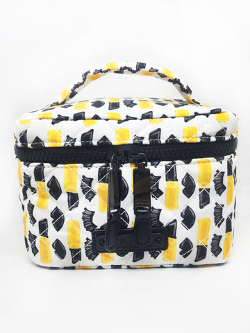 Quilted Black Lips and Lipstick Nylon Small Train Case