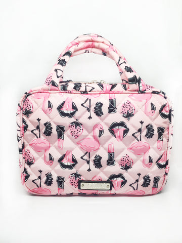 Quilted Pink Flamingo Nylon Travel Case