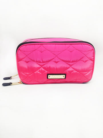 Pink Quilted Lips Double Zip Brush Case