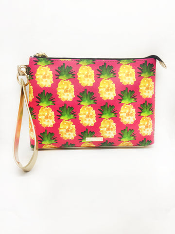 Gold Pineapple Extra Large Wristlet Pouch