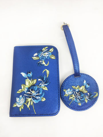 Blue Glitter Embroidered Passport Case and Luggage Tag