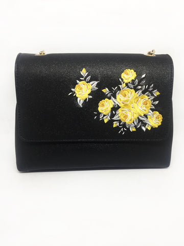 Black Glitter Embroidered Small Crossbody Bag