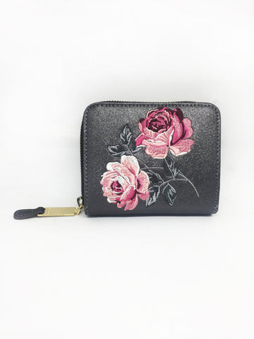 Gunmetal Glitter Embroidered Small Zip Wallet