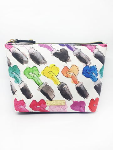 Rainbow Lips and Lipstick Saffiano Small T Bottom Cosmetic Bag