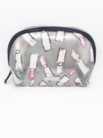 Lipstick Glitter Vinyl Small Dome Cosmetic Bag