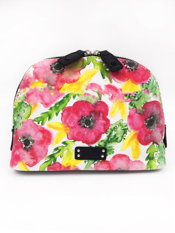Pink Flowers Canvas Dome Cosmetic Bag