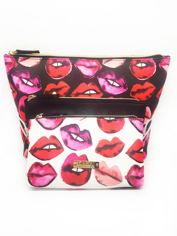 Lips Saffiano 3 Piece Pouch Set