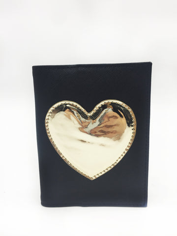 Gold Heart Applique Passport Case
