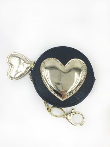Gold Heart Applique Round Coin Purse Keychain