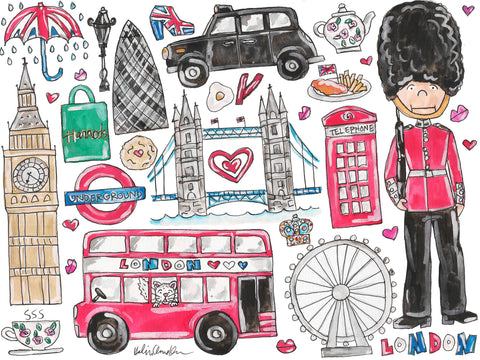I Love London Watercolor Painting